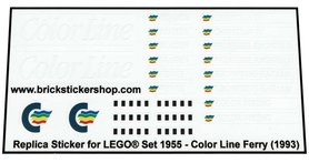 Precut Custom Replacement Stickers for Lego Set 1955 - Color Line Ferry (1993)