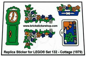 Precut Custom Replacement Stickers voor Lego Set 132 - Cottage (1979)