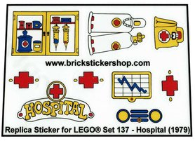 Precut Custom Replacement Stickers for Lego Set 137 - Hospital (1979)