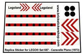 Precut Custom Replacement Stickers voor Lego Set 687 - Caravelle Plane (1973)