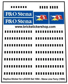 Precut Custom Replacement Stickers for Lego Set 1054 - Stena Ferry Line (1998)