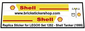 Precut Custom Replacement Stickers for Lego Set 1252 - Shell Tanker (1999)