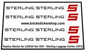 Precut Custom Replacement Stickers voor Lego Set 1551 - Sterling Luggage Carrier (1972)
