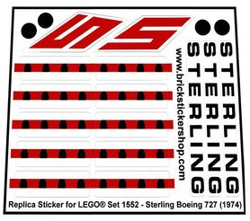 Precut Custom Replacement Stickers voor Lego Set 1552 - Sterling Boeing 727 (1974)