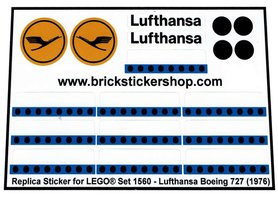 Precut Custom Replacement Stickers voor Lego Set 1560 - Lufthansa Boeing 727 (1976)