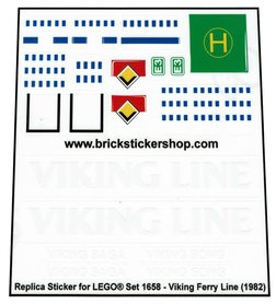 Precut Custom Replacement Stickers for Lego Set 1658 - Viking Line Ferry (1982)