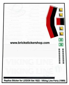 Precut Custom Replacement Stickers for Lego Set 1923 - Viking Line Ferry (1989)