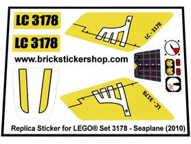 Precut Custom Replacement Stickers for Lego Set 3178 - Seaplane (2010)