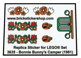 Precut Custom Replacement Stickers for Lego Set 3635 - Bonnie Bunny's Camper (1981)
