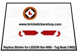 Precut Custom Replacement Stickers for Lego Set 4005 - Tug Boat (1982)