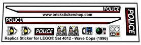 Precut Custom Replacement Stickers for Lego Set 4012 - Wave Cops (1996)