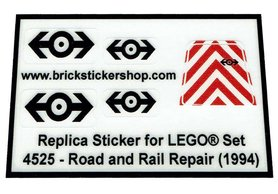 Precut Custom Replacement Stickers for Lego Set 4525 - Road and Rail Repair (1994)