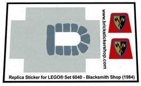 Precut Custom Replacement Stickers for Lego Set 6040 - Blacksmith Shop (1984)
