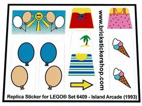 Precut Custom Replacement Stickers for Lego Set 6409 - Island Arcade (1993)