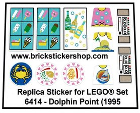 Precut Custom Replacement Stickers for Lego Set 6414 - Dolphin Point (1995)