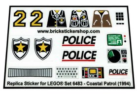 Precut Custom Replacement Stickers for Lego Set 6483 - Coastal patrol (1994)