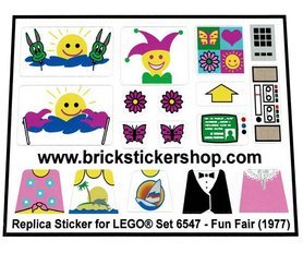Precut Custom Replacement Stickers for Lego Set 6547 - Fun Fair (1997)