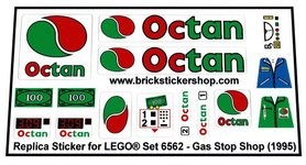 Precut Custom Replacement Stickers for Lego Set 6562 - Gas Stop Shop (1995)