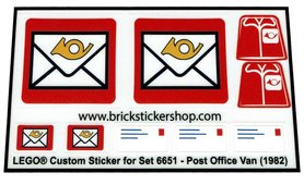 Precut Custom Replacement Stickers for Lego Set 6651 - Post Office Van (1982)