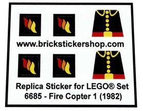 Precut Custom Replacement Stickers for Lego Set 6685 - Fire Copter 1 (1982)
