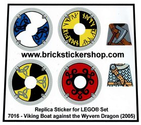 Precut Custom Replacement Stickers voor Lego Set 7016 - Viking Boat against the Wyvern Dragon (2005)
