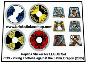 Precut Custom Replacement Stickers voor Lego Set 7019 - Viking Fortress against the Fafnir Dragon (2005)