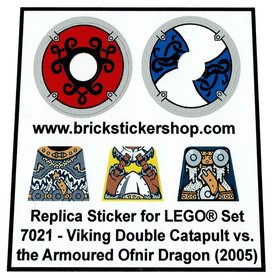 Precut Custom Replacement Stickers voor Lego Set 7021 - Viking Double Catapult vs the Armoured Ofnir Dragon (2005)