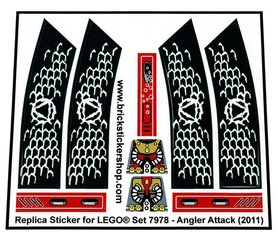 Precut Custom Replacement Stickers for Lego Set 7978 - Angler Attack (2011)
