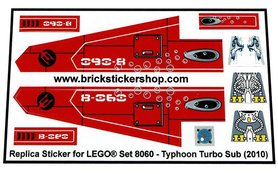 Precut Custom Replacement Stickers for Lego Set 8060 - Typhoon Turbo Sub (2010)