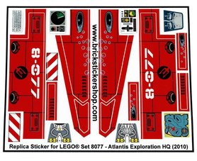 Precut Custom Replacement Stickers for Lego Set 8077 - Atlantis Exploration HQ (2010)
