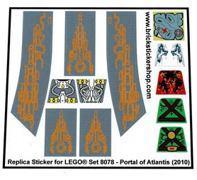 Precut Custom Replacement Stickers for Lego Set 8078 - Portal of Atlantis (2010)
