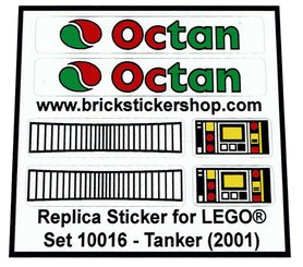 Precut Custom Replacement Stickers for Lego Set 10016 - Tanker (2001)