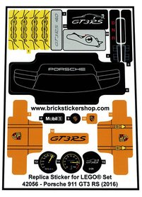 Precut Custom Replacement Stickers for Lego Set 42056 - Porsche 911 GT3 RS (2016)