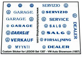 Precut Custom Replacement Stickers for Lego Set 1307 - VW Auto Showroom (1958)