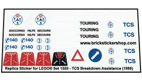 Precut Custom Replacement Stickers for Lego Set 1589 - Set TCS Breakdown Assistance (1986)