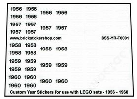 Custom Year Stickers for use with LEGO sets - 1956 - 1960