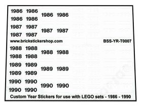 Custom Year Stickers for use with LEGO sets - 1986 - 1990