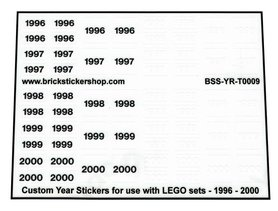 Custom Year Stickers for use with LEGO sets - 1996 - 2000