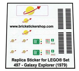 Lego Custom Replacement Stickers for Set 497 - Galaxy Explorer (1979)