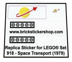 Lego Custom Replacement Stickers voor Set 918 - Space Transport (1979)