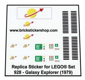 Lego Custom Replacement Stickers for Set 928 - Galaxy Explorer (1979)