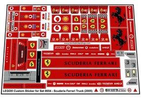 Precut Custom Replacement Stickers for Lego Set 8654 - Scuderia Ferrari Truck (2005)