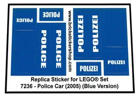 Precut Custom Replacement Stickers for Lego Set 7236 - Police Car (Blue Version)(2008)