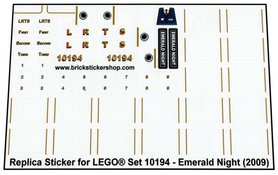 Precut Custom Replacement Stickers for Lego Set 10194 - Emerald Night (2009)