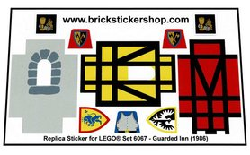 Precut Custom Replacement Stickers for Lego Set 6067 - Guarded Inn (1986)