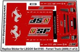 Precut Custom Replacement Stickers for Lego Set 8185 - Ferrari Truck (2009)