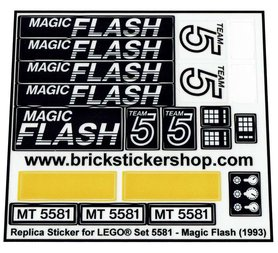 Precut Custom Replacement Stickers for Lego Set 5581 - Magic Flash (1993)