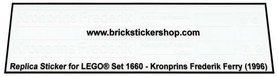 Precut Transparent Custom Replacement Stickers for Lego Set 1660 - Kronprins Frederik Ferry (1996)