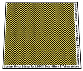 Uncut Vinyl sticker with Black & Yellow Stripes (version 1, 1mm) for use with LEGO® sets