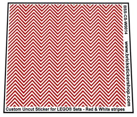 Uncut Vinyl sticker with Red & White Stripes (version 1) for use with LEGO® sets